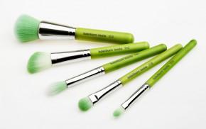 Набор кистей Green Bambu с бамбуковой ручкой / Зеленые, 5шт