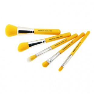 Набор кистей Yellow Bumbu с бамбуковой ручкой / Желтые, 5 шт