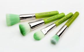 Набор кистей Green Bambu с бамбуковой ручкой / Зеленые, 4 шт.