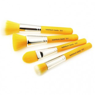 Набор кистей Yellow Bambu с бамбуковой ручкой / Желтые, 4 шт