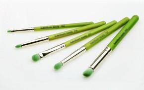 Набор кистей для глаз Green Bambu с бамбуковыми ручками / Зеленые, 5 шт